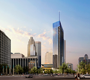 A 2016 rendering of United Properties' Gateway project shows a 35-story glass tower spire on the Nicollet Hotel block. The project will now be 33 stories and will not include the spire. (Submitted image: ESG Architects)