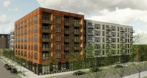 Reuter Walton wants to tear down seven commercial buildings along 14th Street West and Nicollet Avenue in Minneapolis to build this 230-unit mixed-use apartment building. (Submitted image: Reuter Walton)