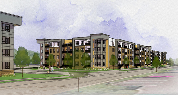 A 181-unit apartment building on the west side of a 6-acre parcel Sherman Associates recently purchased in Coon Rapids will be some of the first market-rate apartments built in the city in 25 years. (Submitted illustration: Kass Wilson Architects)