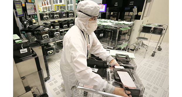 SkyWater Technology Foundry's chip manufacturing takes place in an 80,000-square-foot cleanroom in its facility in Bloomington. (Staff photo: Bill Klotz)