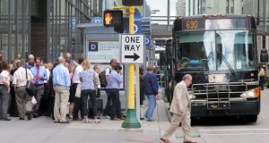 Transit customers, many heading home from work, board a bus at Eighth Street South and Marquette Avenue South in downtown Minneapolis. The Minnesota Chamber of Commerce is creating a new Center for Workforce Solutions to consolidate existing workforce-development programs. (File photo: Bill Klotz)