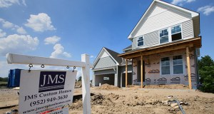 New houses from JMS Custom Homes are under construction on Jasmine Avenue in the Crow River Heights development in Hanover. A current proposal would bring 159 more units to the development at 9991 Beebe Lake Road NE, which is just south of Lake Wilhelm and halfway between Interstate 94 and Highway 55. (Staff photo: Bill Klotz)