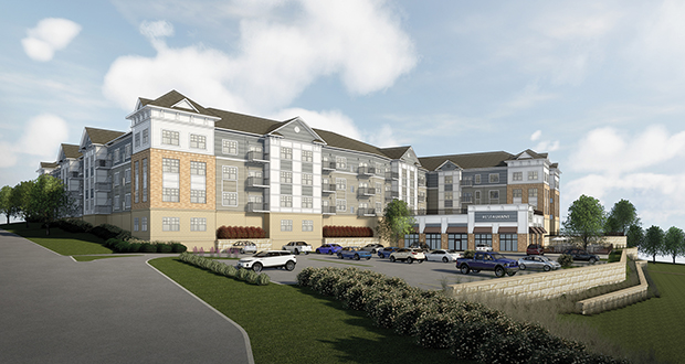Northland Real Estate Group's planned three-story 103-unit apartment complex on the shores of South Lindstrom Lake in Lindstrom will include a small boat marina and a restaurant. (Submitted illustration: Kaas Wilson Architects)