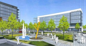 The complete buildout at the southern 12.5 acres of Pentagon Park in Edina is planned to include 225,000 square feet of office space and two hotels. (Submitted illustration: RSP Architects)