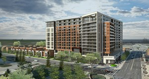 Minneapolis-based Alatus LLC broke ground Wednesday at its $125 million mixed-use development at 217 14th Ave. SW in Rochester, Minnesota. The company also announced the project will be named The Berkman in honor of a prominent early Rochester citizen. (Submitted image: ESG Architects)