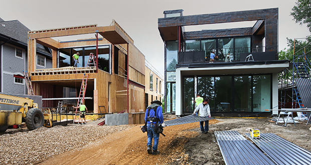 Most entries in the Artisan Home Tour are single-family homes, but Kroiss Development Inc. and Peterssen/Keller Architects are wrapping up work on a condominium, the first of four units in this boutique project at 1204-1206 Kenwood Parkway in Minneapolis. (Staff photo: Bill Klotz)
