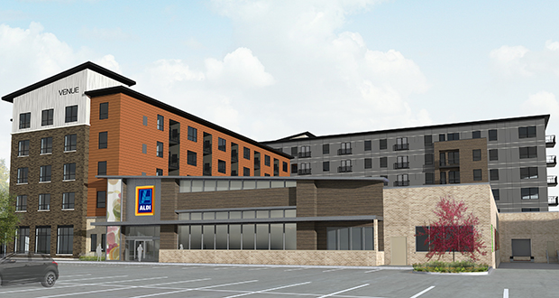 United Properties' The Venue complex will offer market-rate apartments and an adjacent Aldi grocery store on top of a parking ramp at 525 W. 78th St. in downtown Chanhassen. (Submitted image: LHB)