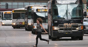 Bus bunching occurs because bus routes are inherently unstable. When the buses are on schedule, everything seems to work fine. However, once a bus gets behind schedule, it's nearly impossible for it to get back on track. (File photo: Bill Klotz)