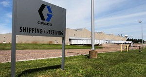 Graco Inc. is considering an expansion that would add a 330,000-square-foot manufacturing building and 106,000 square feet of new office and lab space to a site just east of the company's existing plant (above) at 20500 David A. Koch Ave. in Rogers. (Staff photo: Bill Klotz)