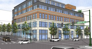 The century-old former charter school building at 133 Seventh St. E. in downtown St. Paul, as seen in this architectural rendering, will reopen this spring as an upscale apartment building called Lofts R7.  (Submitted rendering: Collaborative Design Group)