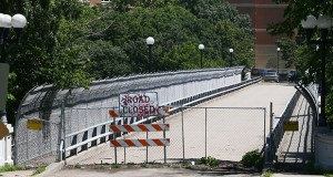A project to repair and reopen this bridge at the Minneapolis Veterans Home campus is on hold pending the results of additional testing and inspections. (File photo: Bill Klotz )