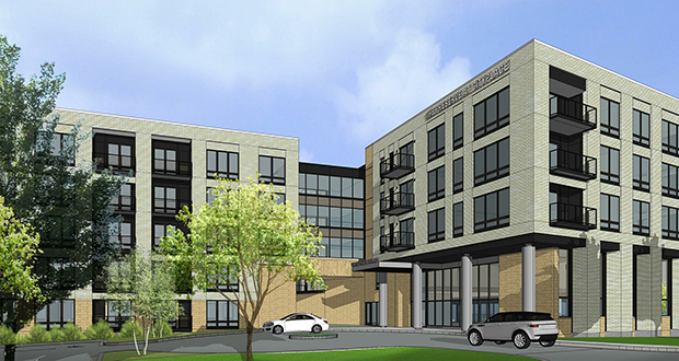 Nebraska-based Commercial Investment Properties is proposing this 253-unit residential building at the CityPlace campus in Woodbury. The project site is east of Radio Drive, north of Hudson Boulevard, and south of Interstate 94. (Submitted rendering: ESG)