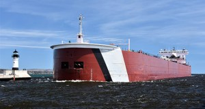 The Edwin H. Gott bulk carrier approaches the Port of Duluth-Superior earlier this year. A new report has found more than $1.4 billion in direct and indirect economic impact from the 35 million short tons of cargo shipped through the port in 2017. (Submitted photo: Duluth Seaway Port Authority)