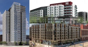 Among the apartment projects currently proposed or underway in Minneapolis are the Wall Cos.' six-story market-rate Malcolm Yards apartment building in the Prospect Park neighborhood (top right), Sherman Associates' 180-unit East End mixed-use apartment project at 713 Washington Ave. S. (bottom right), and Sherman Associates' 22-story, market-rate tower on the southwest corner of Washington and Portland avenues (left). (Submitted renderings)