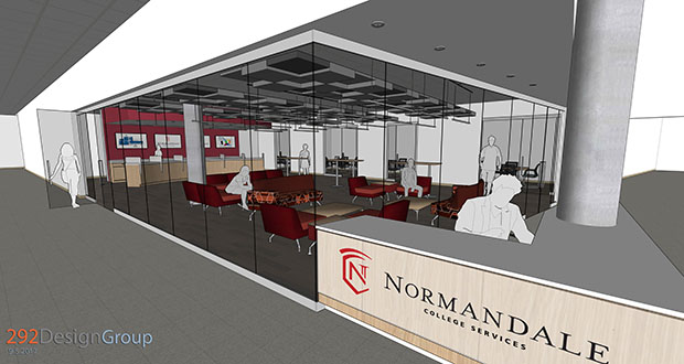 """A preliminary architectural drawing shows a """"student services hub"""" for Normandale Community College's College Services Building, a main entry to the campus at 9700 France Ave. S. in Bloomington. (Submitted rendering: 292DesignGroup)"""