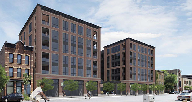 Solhem Cos. plans to build 196 apartments at 102-120 First St. N. in the North Loop in Minneapolis. The site had previously been slated for another apartment proposal and a hotel. (Submitted illustration: Momentum Design Group)