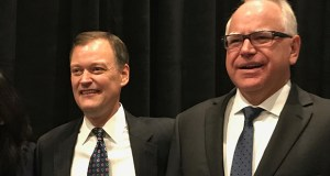 Minnesota gubernatorial candidates Jeff Johnson, left, and Tim Walz spoke Wednesday at a talent symposium sponsored by 10 chambers of commerce led by the Twin West chamber.  (Staff photo: Brian Johnson)