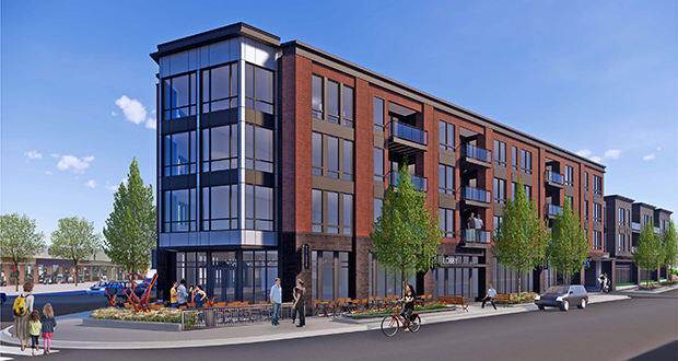 Developer Ted Carlson plans to build this 46-unit, mixed-use building at 4500 France Ave. in Edina. The project advanced Tuesday with a vote by the City Council and a redevelopment grant from the Minnesota Department of Employment and Economic Development. (Submitted image: ESG)