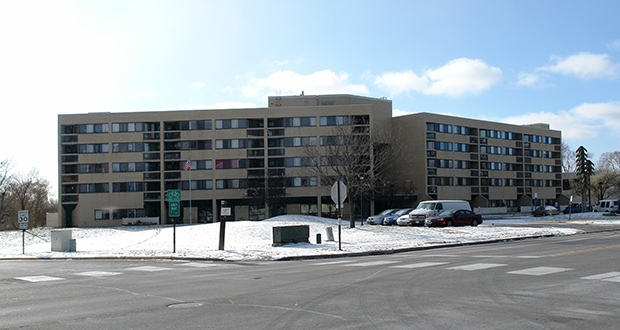 Plymouth-based Dominium purchased the 196-unit Village Green Apartments at 460 Mississippi St. NE in Fridley. (Submitted photo: CoStar)