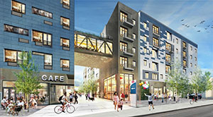 An ancillary project that may benefit from being near the Southwest Light Rail Transit line is a proposal from PLACE, a Minneapolis-based nonprofit developer, which is planning 299 apartments, a 110-room hotel, a coffee shop and other uses to the southeast corner of Wooddale Avenue and Highway 7 near the Southwest line's Wooddale Station. (Submitted image: MSR Architects)