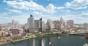 "At full development, ""The Saint Paul Riversedge"" project would include four towers with a 1,500- to 1,800-stall parking garage embedded in the bluff. (Submitted image: AECOM)"