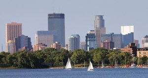 Commercial real estate leaders are more convinced than they were one year ago that development in the Twin Cities will be more expensive and less profitable two years from now, according to the Minnesota Commercial Real Estate Survey from the University of St. Thomas. This photo shows the Minneapolis skyline from across Bde Maka Ska, formerly Lake Calhoun. (File photo: Bill Klotz)