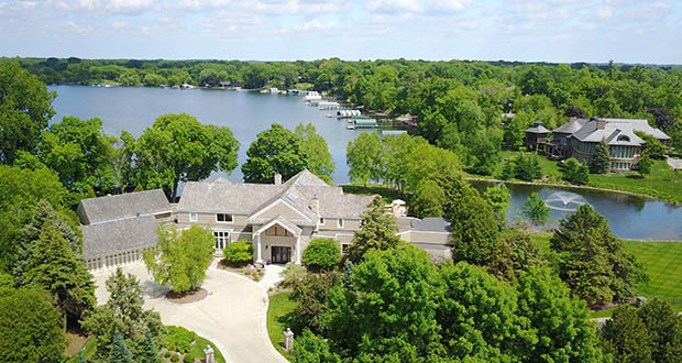 This four-bedroom, six-bath, 11,193-square-foot home at 90 Clay Cliffe Drive in Tonka Bay mixes the privacy of a gated community with open Lake Minnetonka shoreline. (Submitted photo)