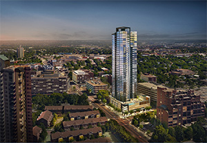The 40-story Alia condominium tower Alatus LLC plans to build in northeast Minneapolis will be one of a number of residential towers in northeast Minneapolis and the St. Anthony Main neighborhood. (Submitted illustration: Alatus LLC)