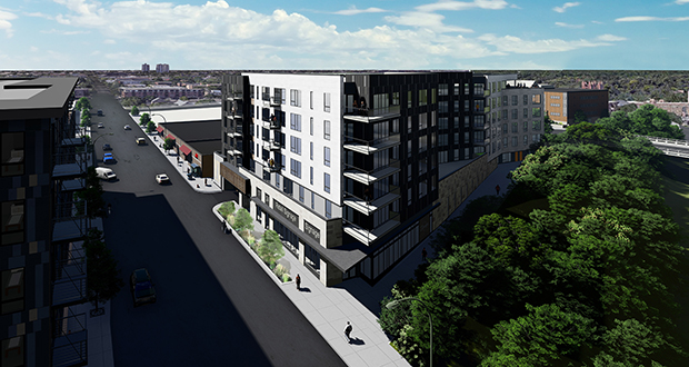 To provide extra parking for 123 apartments planned for 1724-1728 Nicollet Ave., developer Yellow Tree plans to install a car-stacking system in the building. (Submitted illustration: DJR Architecture)