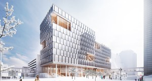 A new 11-story city of Minneapolis building, which is the centerpiece of an estimated $213 million project that includes improvements to the existing City Hall, will rise on a block surrounded by Fifth and Sixth streets, and Fourth and Fifth avenues in downtown. (Submitted image: MSR Design/Henning Larsen)