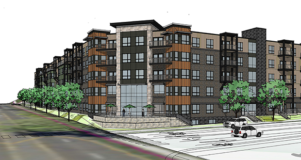 Minneapolis-based J.A. Wedum Foundation has paid $3.4 million for the site of this future 155-unit senior housing development. The 5.5-acre site is at 848 Albion St. in St. Paul's Highland Park Neighborhood. (Submitted rendering: Pope Architects)