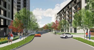 A rendering of Bader Development's future Calhoun Towers apartments in Minneapolis shows the light rail, which will have a station adjacent to a piece of land Bader recently purchased for the fourth phase of the project. (Submitted illustration: ESG Architects)