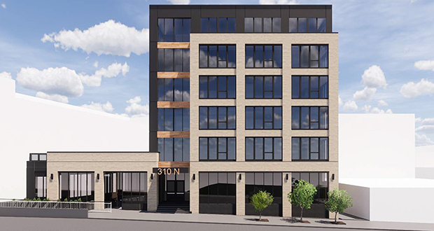 A Minneapolis developer is proposing to build a six-story mixed-use apartment building at 310 Second St. N. in the North Loop neighborhood of Minneapolis that would include retail space and underground parking. (Submitted illustration: Tushie Montgomery Architects)