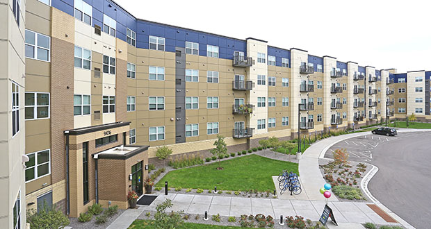 Schafer Richardson opened Parkway off Central, a 191-unit apartment building at 9436 Ulysses St. NE, Blaine, in 2017. Boston-based Berkshire Residential Investments bought the property last week for $37.4 million. (Submitted photo: CoStar Group)