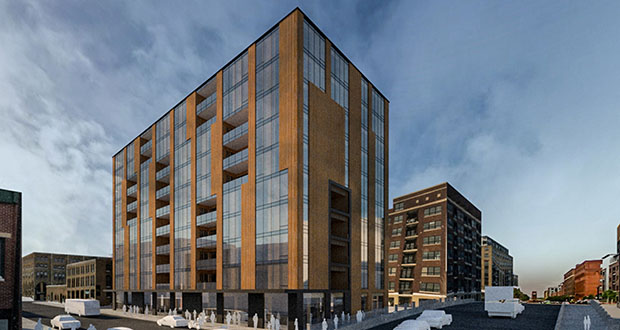 A 10-story, timber-frame condominium building two developers want to build at 100 Third Ave. N. in Minneapolis' North Loop neighborhood would rise next to a proposed apartment building being developed next door. (Submitted illustration: Dwyer Oglesbay Architects)
