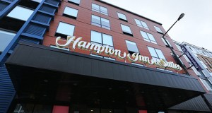 Houston-based Vista Host opened a 160-room Hampton Inn at 200 W. Seventh St. in St. Paul as part of a redevelopment of the site of the former Seven Corners Hardware and a church. (File photo: Bill Klotz)