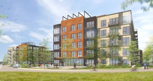A pair of apartment buildings planned to be built on about 7 acres of property in the southeast quadrant of Beltline Boulevard and Highway 7 in St. Louis Park are part of a multiphase project that might bring 360 apartments and a grocery store to the area around the future Beltline Boulevard Station on the Southwest Light Rail Transit line. (Submitted illustration: BKV Group)