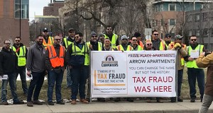 "Members of the North Central States Regional Council of Carpenters gathered in Minneapolis on Monday to protest ""wage theft"" on construction projects in this April 15, 2019 photo.  (Submitted photo: North Central States Regional Council of Carpenters)"
