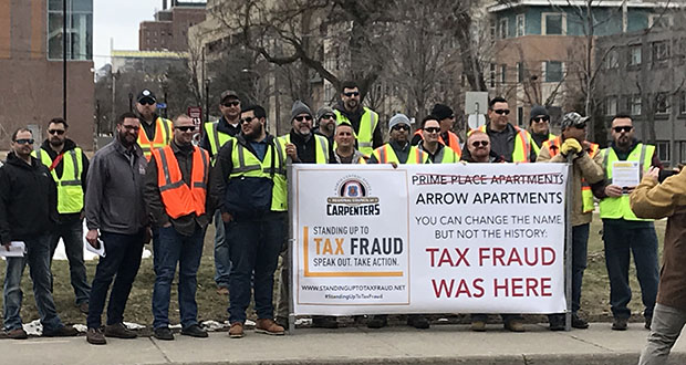 """Members of the North Central States Regional Council of Carpenters gathered in Minneapolis on Monday to protest """"wage theft"""" on construction projects in this April 15, 2019 photo. (Submitted photo: North Central States Regional Council of Carpenters)"""