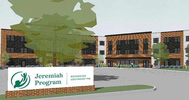 The Jeremiah Program hopes to start construction in June or July on this 40-unit affordable housing project in Rochester. The housing is intended for single-mothers living in poverty and their children. (Submitted rendering: Jeremiah Program)