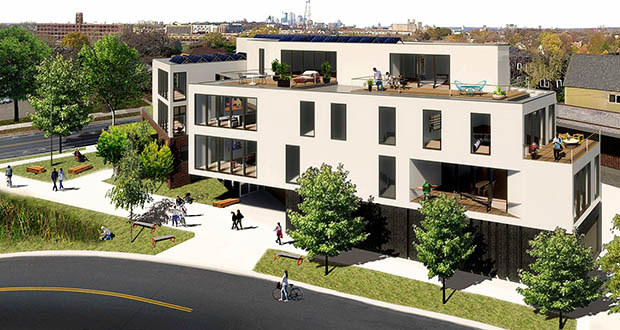 The Guild 842 project, which will build 12 apartments atop the Carpenter's Union Hall at 842 Raymond Ave. in St. Paul, is one of four opportunity zone projects selected for investment by Minnesota's DREAM Fund. (Submitted image: MN-OZA)