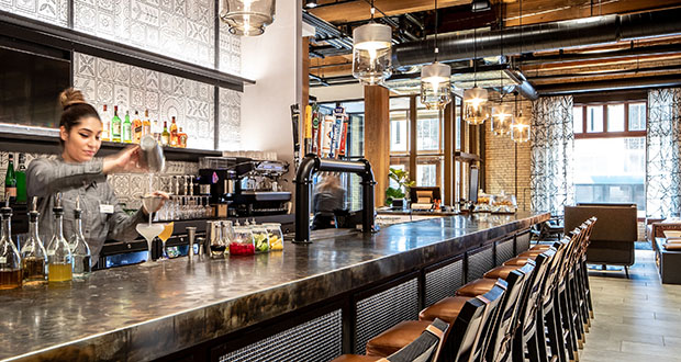 The bar at Umbra, a new, independent restaurant in the Canopy hotel. (Submitted photo: Sherman Associates)