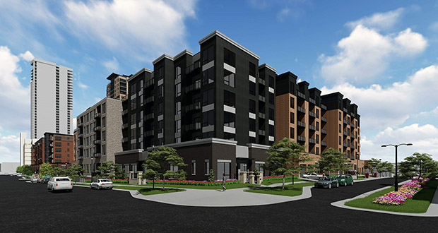 Doran Cos. and CSM Corp. plan to build two sets of six-story apartment blocks at 311 Second St. SE and 215 Fifth Ave. SE in Minneapolis next to the luxury, high-rise Expo apartments the two developers are currently building. (Submitted illustration: Doran Cos.)