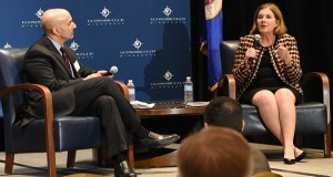 Minneapolis Federal Reserve President Neel Kashkari, left, and Kansas City Fed President Esther George discuss the economy Tuesday at a meeting of the Economic Club of Minnesota. (Submitted photo: Economic Club)