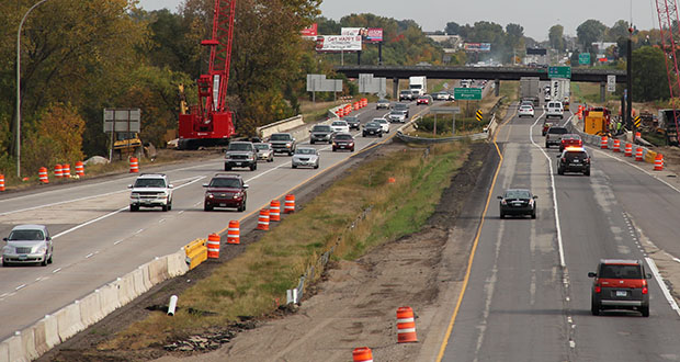 In this submitted photo, crews work on a segment of I-94 between St. Michael and Rogers. (Submitted photo: MnDOT)