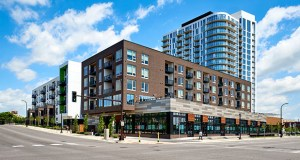 Lennar Multifamily Communities recently pulled a permit for this NordHaus apartment project at 120 Fifth St. NE in Minneapolis. Lennar broke ground on the 335-unit second project phase this spring. (Submitted image)