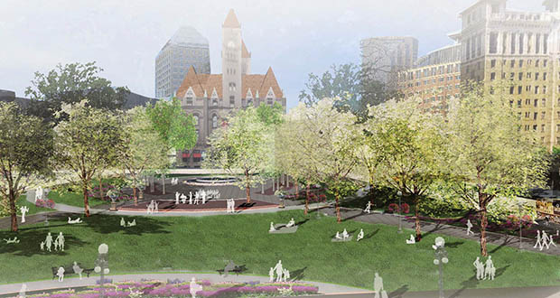 """The city of St. Paul is nearing completion of this $3.35 million """"revitalization"""" of Rice Park. LS Black Constructors recently pulled a $1.5 million permit for Rick Park improvements. (Submitted image)"""