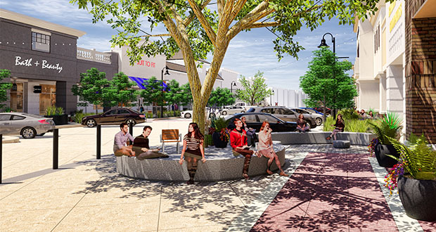 A $1 million project is bringing more parking and improved gathering spaces to The Shoppes at Arbor Lakes. (Submitted rendering)