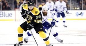 Retired NHL defenseman John-Michael Liles, shown here playing for the Boston Bruins, has relied on Royal Bank of Canada to help protect his NHL earnings. (Bloomberg file photo)