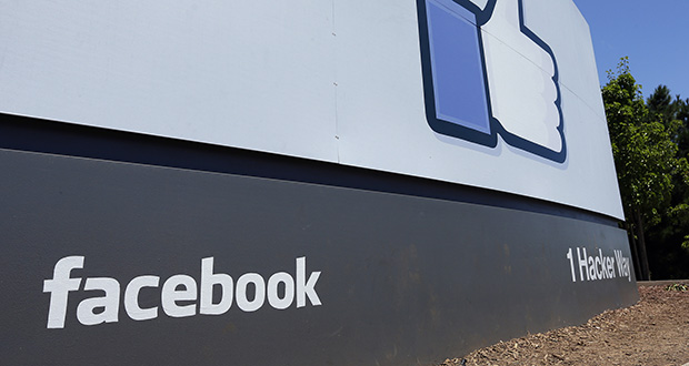 This July 16, 2013, photo shows a sign at Facebook headquarters in Menlo Park, California. The Boston-based renewable energy developer Longroad Energy announced in May 2019 that Facebook is building a massive new solar farm in West Texas. (AP file photo)